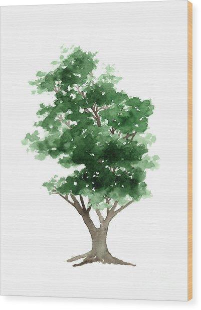 Beech Tree Silhouette Watercolor Art Print Painting Wood Print
