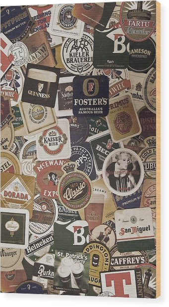 Beers Of The World Wood Print