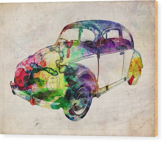 Beetle Urban Art Wood Print