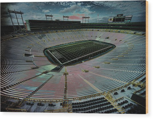 Before The Game At Lambeau Wood Print