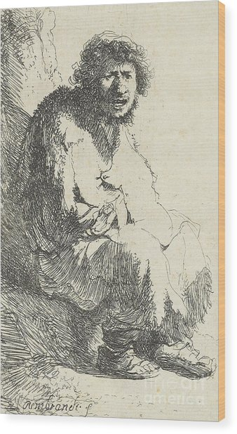 Beggar Seated On A Bank Wood Print