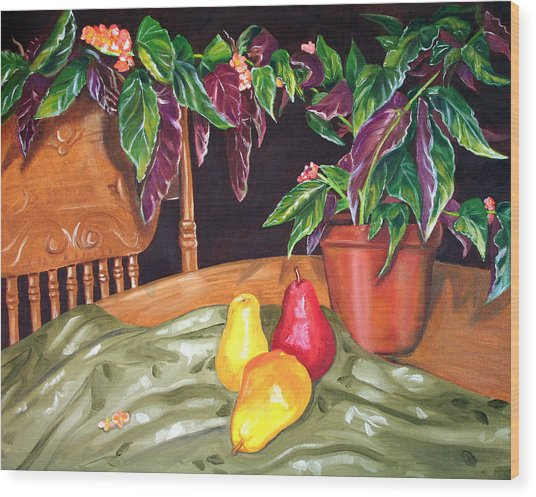 Begonias And Pears Wood Print by Dorothy Riley