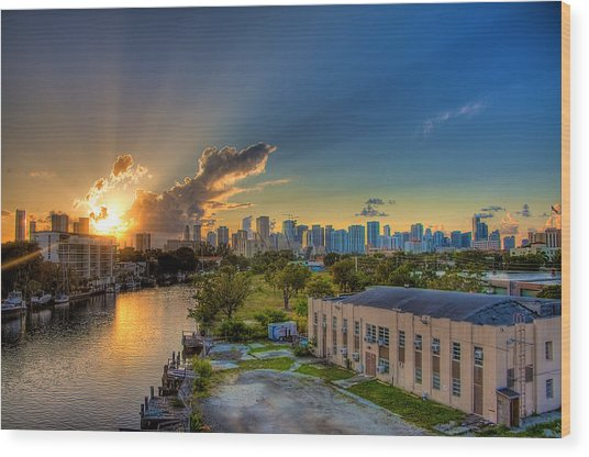 Behind Miami Wood Print by William Wetmore