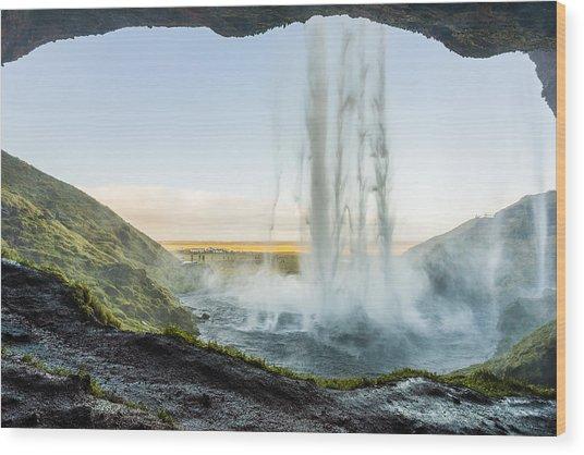 Wood Print featuring the photograph Behind Seljalandsfoss by James Billings