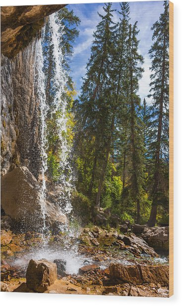 Behind Spouting Rock Waterfall - Hanging Lake - Glenwood Canyon Colorado Wood Print