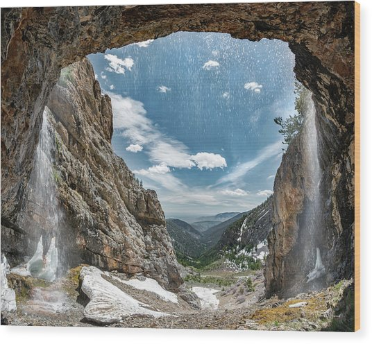 Wood Print featuring the photograph Behind The Falls by Leland D Howard