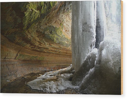 Behind The Ice Falls Wood Print