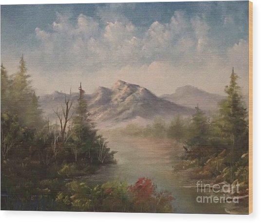Behind The Pines  Wood Print by Paintings by Justin Wozniak