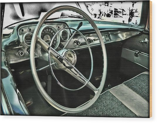 Behind The Wheel Wood Print