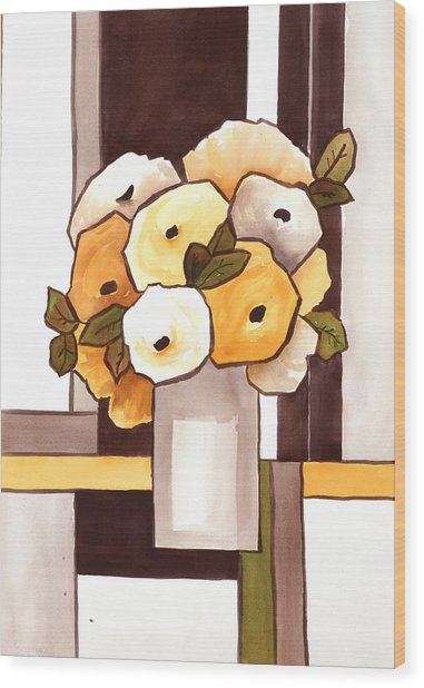 Beige And Brown Funny Flowers Wood Print by Carrie Allbritton