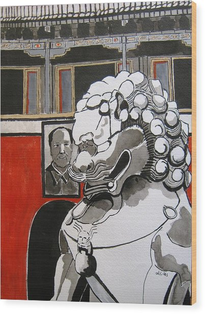 Beijing Tiananmen Lion Wood Print by Lesley Giles