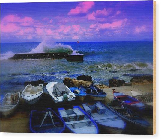 Beirut Seaside Waves Wood Print