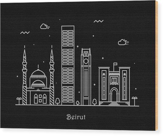 Beirut Skyline Travel Poster Wood Print