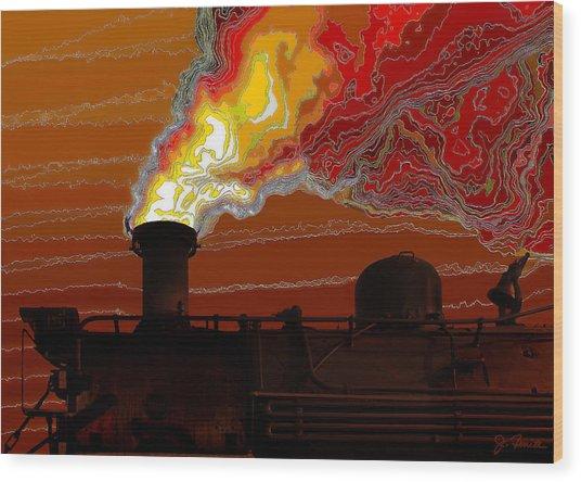 Belching Fire Wood Print by Joe Bonita