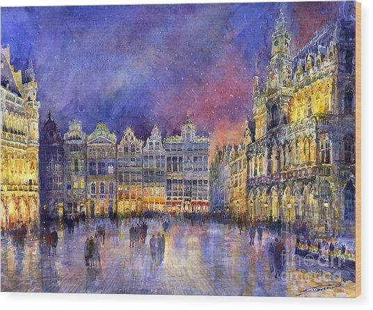 Belgium Brussel Grand Place Grote Markt Wood Print