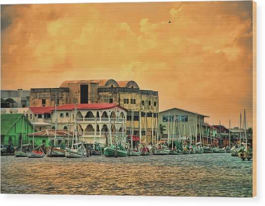 Belize City Harbor Wood Print