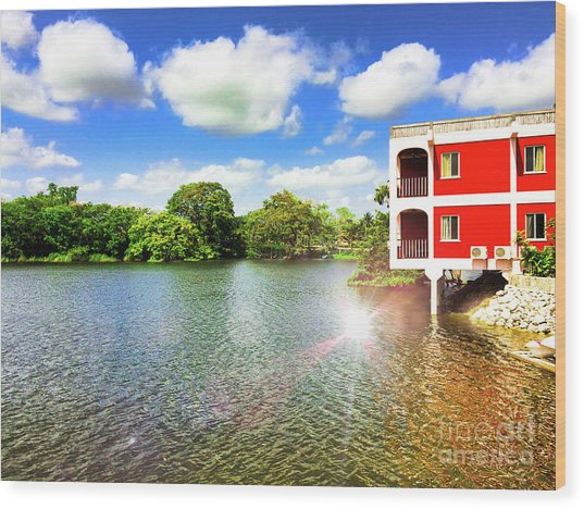 Belize River House Reflection Wood Print