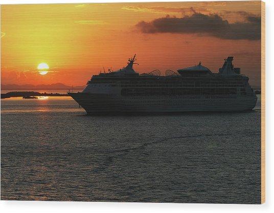 Belize Sunset Wood Print
