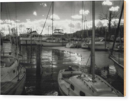 Bell Haven Docks Wood Print