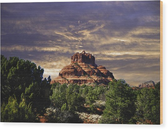 Bell Rock In Hdr Wood Print by Frank Feliciano