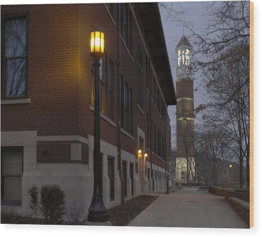 Bell Tower At Night Color Wood Print