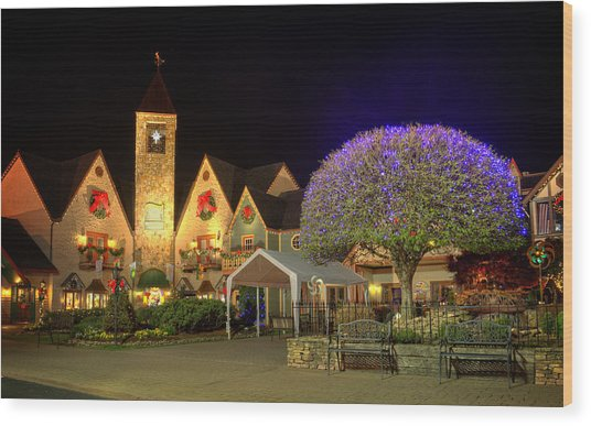Bell Tower Square Christmas Wood Print