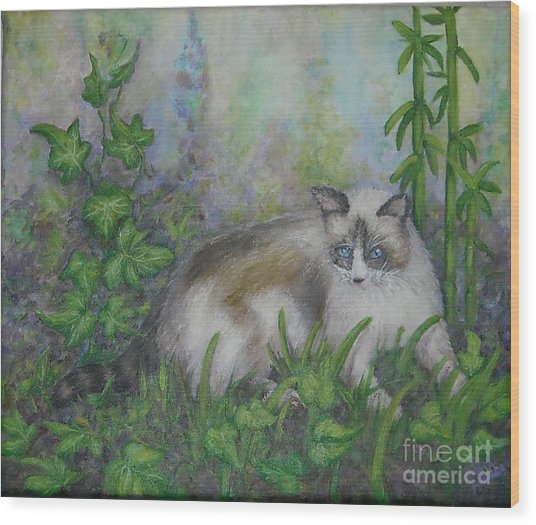 Bella With Ivy And Bamboo Wood Print by Sheri Hubbard