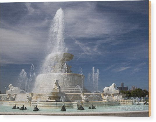 Belle Isle Scott Fountain Wood Print