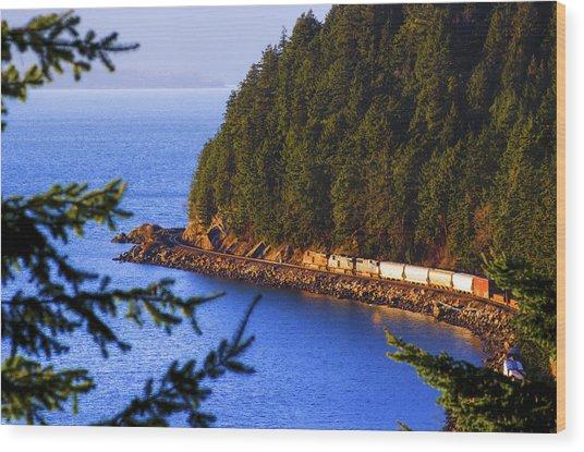 Bellingham Bay And Train Wood Print