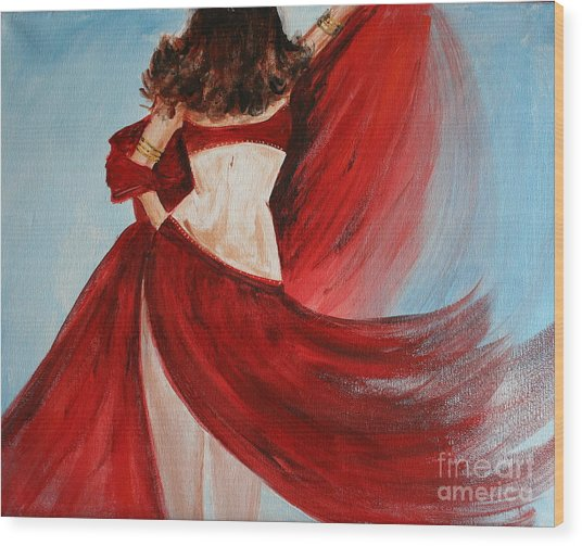 Belly Dancer Wood Print by Julie Lueders