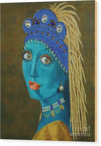 Belly Dancer With A Pearl Earring -- The Original -- Whimsical Redo Of Vermeer Painting Wood Print
