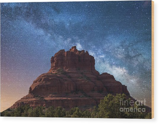 Below The Milky Way At Bell Rock Wood Print