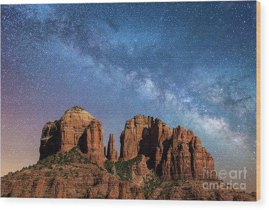 Below The Milky Way At Cathedral Rock Wood Print