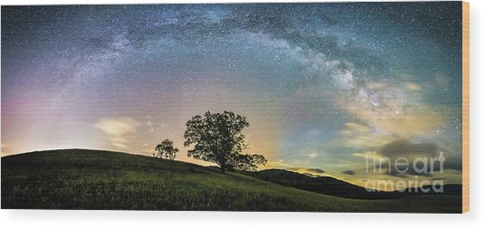 Below The Milky Way At The Blue Ridge Mountains Wood Print