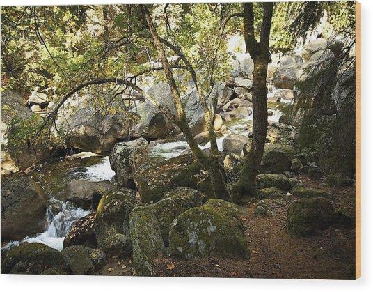Below Vernal Falls  Wood Print by Chris Brewington Photography LLC