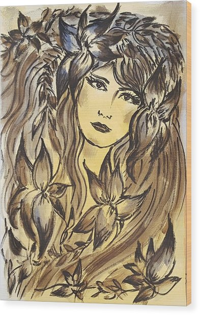 Beltane Goddess Wood Print by Pia Tohveri