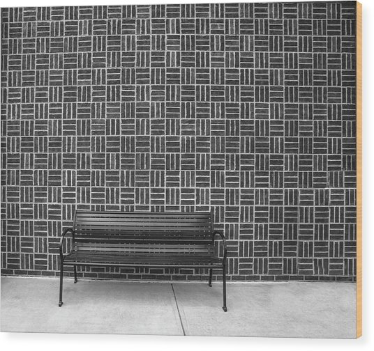 Wood Print featuring the photograph Bench 2017 Bw by Jim Dollar