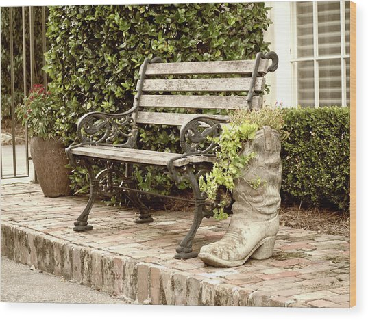 Bench And Boot 2 Wood Print