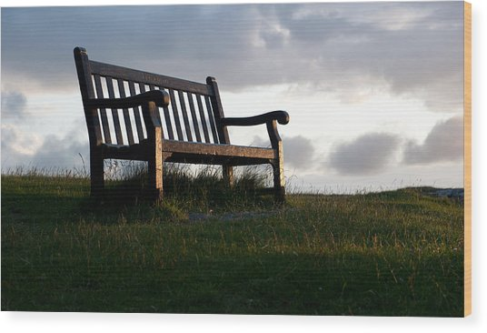 Bench At Sunset Wood Print