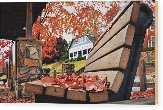 Bench Leaves Wood Print