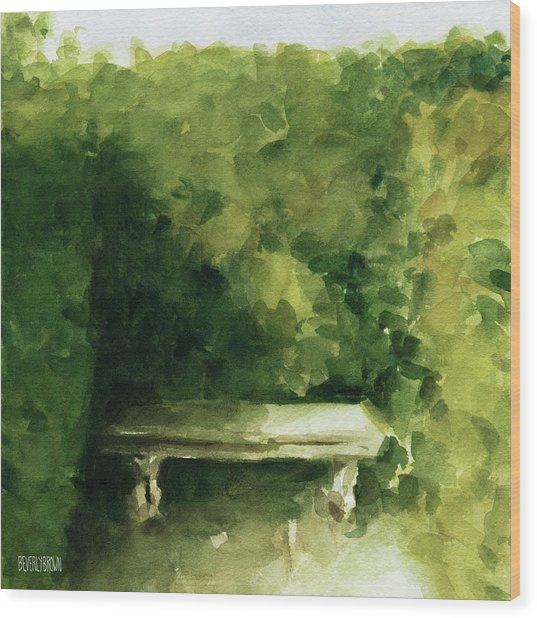 Bench Parc De Bagatelle Paris Wood Print by Beverly Brown