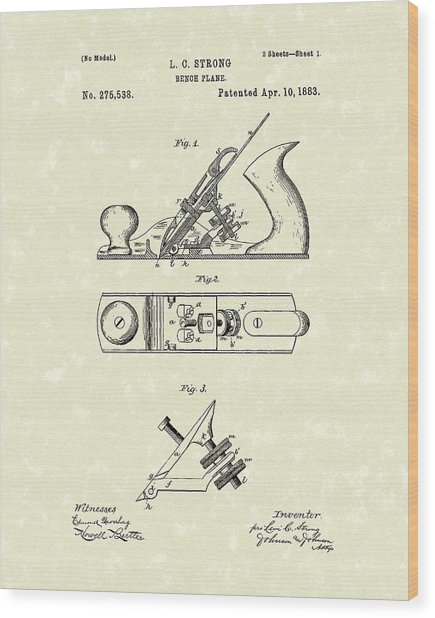 Bench Plane 1883 Patent Art Wood Print