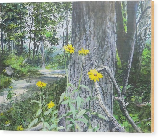 Bend In The Road Wood Print