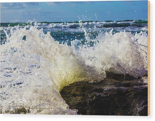 Wave Bending Backwards Wood Print