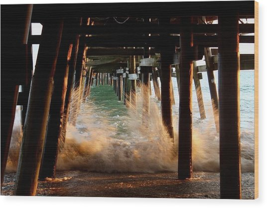 Beneath The Pier Wood Print