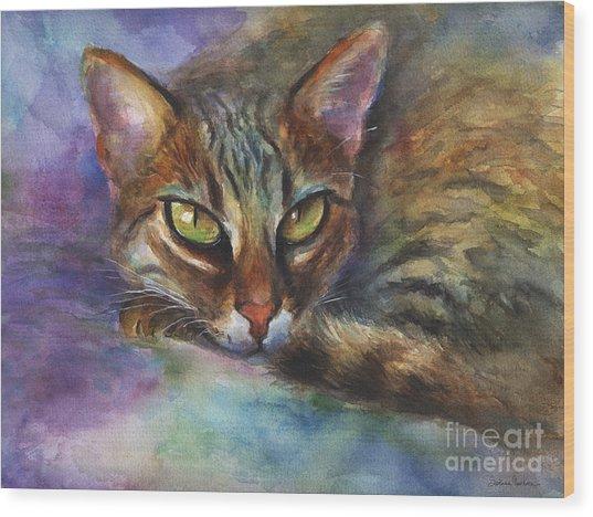 Bengal Cat Watercolor Art Painting Wood Print