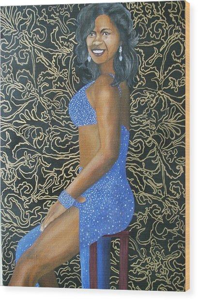Benita As A Dancing Star Wood Print