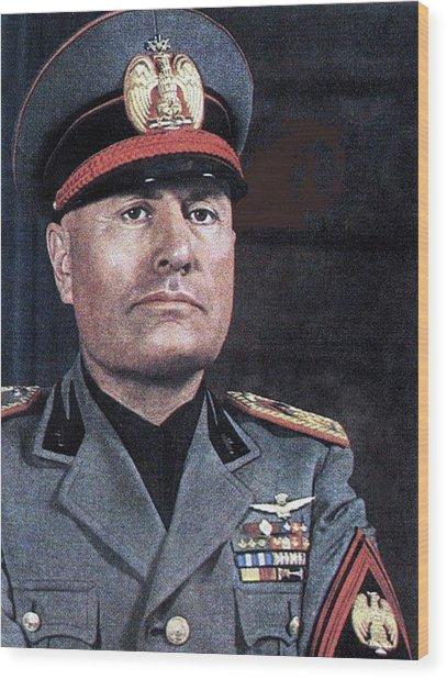 Benito Mussolini Color Portrait Circa 1935 Wood Print