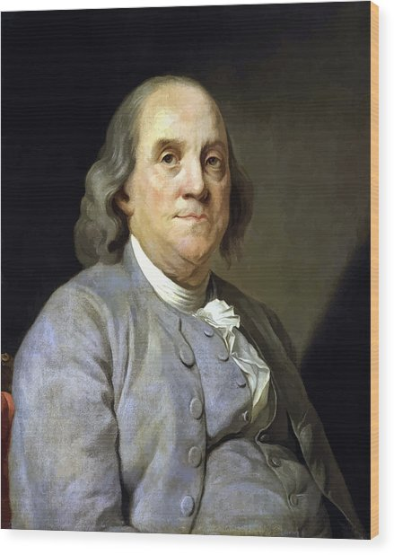 Benjamin Franklin Painting Wood Print