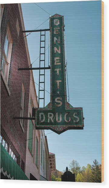Bennett's Drugs Wood Print